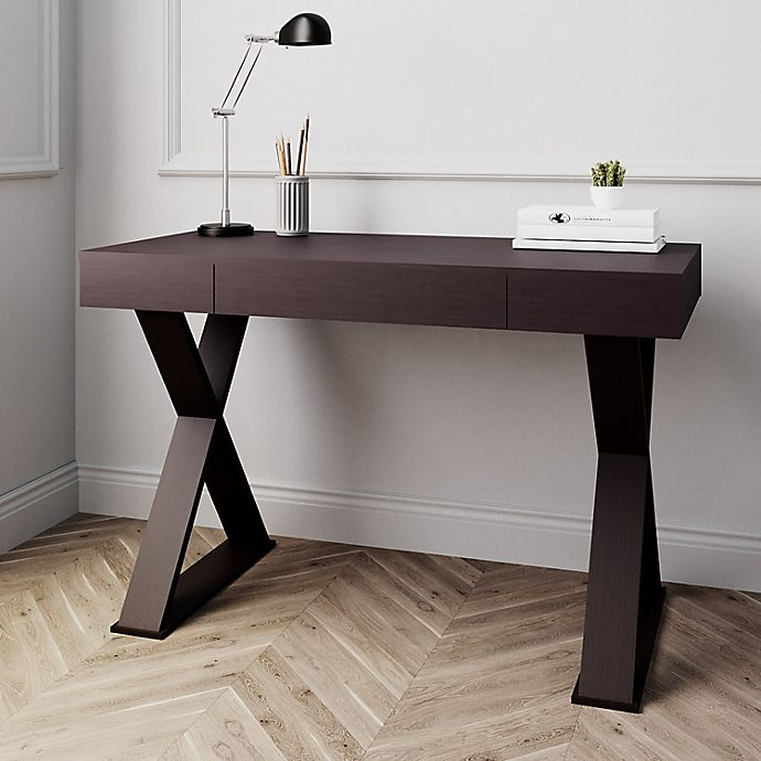 Techni Mobili Trendy Writing Desk With Drawer In Espresso Bed Bath Beyond