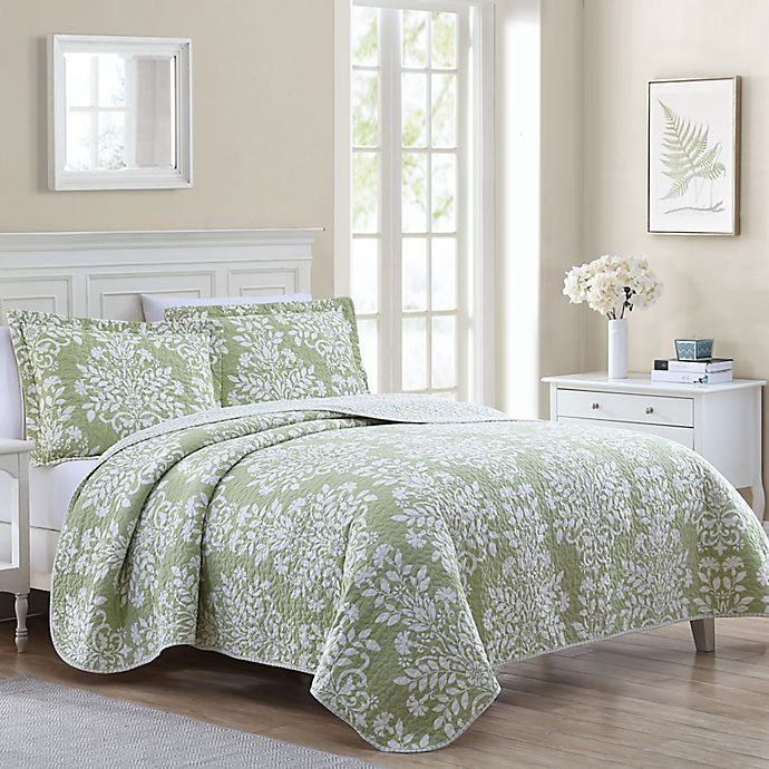 Laura Ashley Rowland Reversible Quilt, Light Green Quilt Bedding
