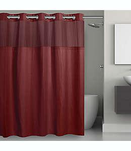 Cortina de baño de poliéster Hookless® con diseño tipo rejilla, 1.8 x 1.87 m color rojo río