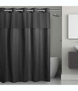 Cortina de baño de poliéster Hookless® con diseño tipo rejilla, 1.8 x 1.87 m color negro