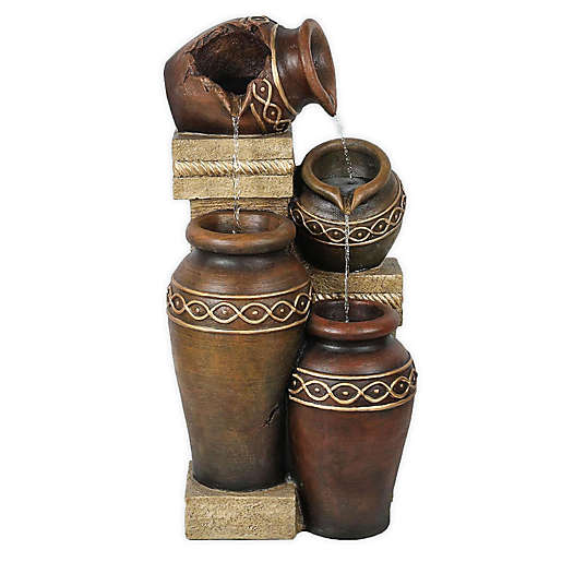 Winston Porter Resin Tiered Urns Fountain