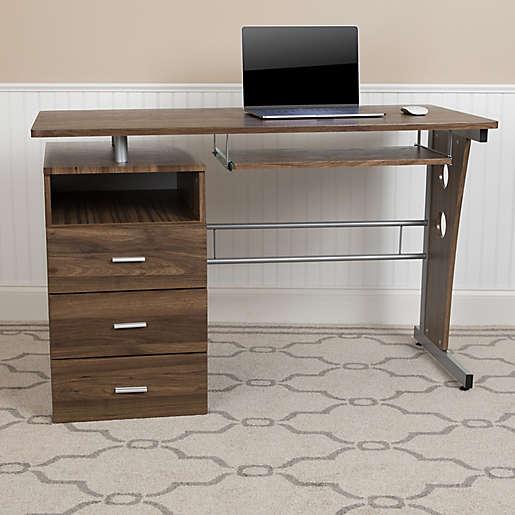 3 Drawer Pedestal Computer Desk, Flash Furniture Computer Desk With 3 Drawer Pedestal Mahogany