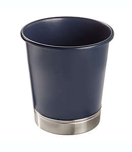 Bote de basura de acero InterDesign® York color azul marino/níquel cepillado