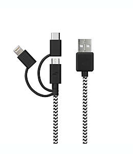 Cable micro USB MyTech con adaptador lightning y USB C de 1.82 m