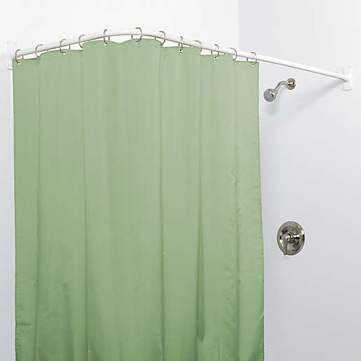 L Shaped Shower Curtain Rod In White, Odd Shaped Shower Curtain Rods