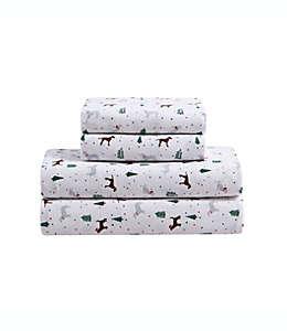Juego de sábanas individuales con diseño de perros color café/blanco