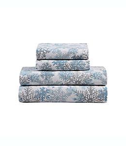 Juego de sábanas individuales con estampado de copos de nieve