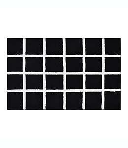 Tapete para baño con diseño a cuadros de 50.8 x 83.82 cm en negro