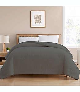 Edredón king reversible de tela de borrego color gris