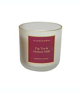 Vela en vaso de vidrio Zodax aroma té de higo y leche de almendras con borde dorado