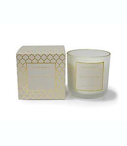 Vela mediana en vaso de vidrio Zodax aroma castañas especiadas con borde dorado