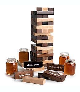 Juego de bloques de madera con vasos tequileros
