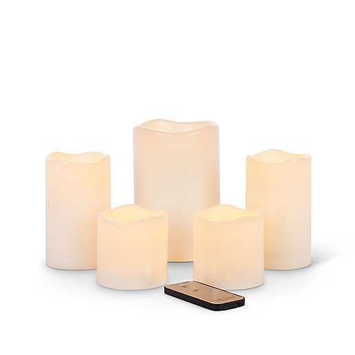 5-Set Indoor/Outdoor LED Candles with Remote Control in Bisque