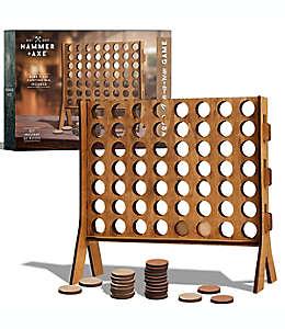 Juego de mesa 4 en línea de madera color café bronceado