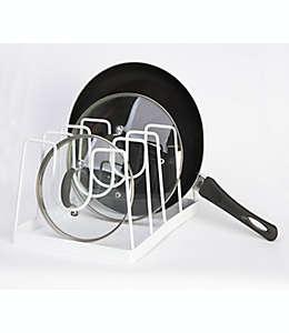 Organizador de acero para sartenes y tapas Simply Essential™ color blanco brillante