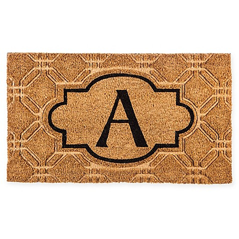 Ordinaire Evergreen Embossed Flocked Monogram Door Mat Insert In Black