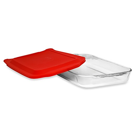 Pyrex® 4-Quart Oblong Glass Baking Dish with Red Plastic Cover