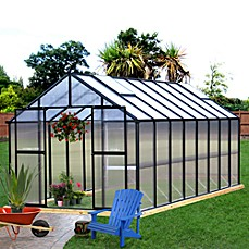 image of Riverstone Monticello Black 8-Foot x 20-Foot Residential Greenhouse
