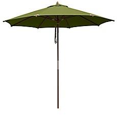 10 Foot Round Deluxe Eucalyptus Wood Patio Umbrella