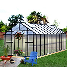 image of Riverstone Monticello Black 8-Foot x 16-Foot Residential Greenhouse