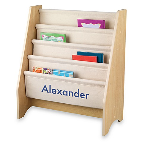 "KidKraft® Personalized ""Logan"" Sling Bookcase in Natural with Blue Lettering"