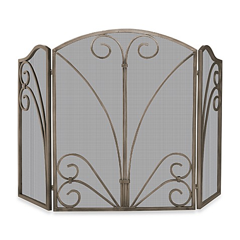 Buy uniflame 3 fold venetian fireplace screen with Decorative fireplace screens