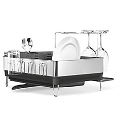 Image Of Simplehuman Steel Frame Dish Rack With Wine Glass Holder