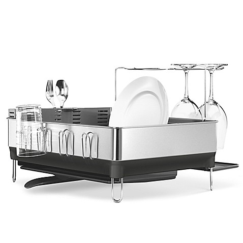 Simplehuman 174 Steel Frame Dish Rack With Wine Glass Holder