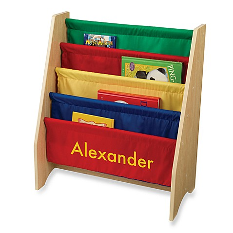 "KidKraft® Personalized ""Alexander"" Boy's Sling Bookcase Primary/Yellow Lettering"