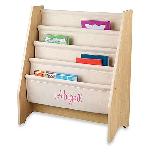 "KidKraft® ""Natalie"" Personalized Sling Bookcase in Natural with Pink Lettering"