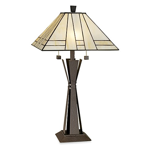 home citycraft table lamp with art glass shade bed bath beyond. Black Bedroom Furniture Sets. Home Design Ideas