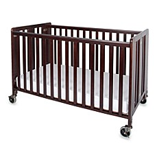image of Foundations® HideAway™ Easy Roll Folding Fixed Side Full-Size Crib in Antique Cherry