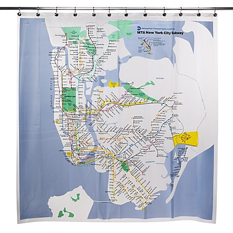 mta new york city subway map vinyl shower curtain