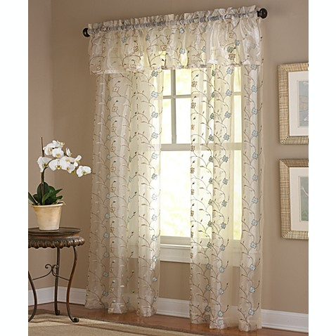 Amberly Embroidered Leaf Rod Pocket Sheer Window Curtain Panel and ...