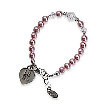 image of Cherished Moments Lil Sis Small Sterling Silver Bracelet in Pink