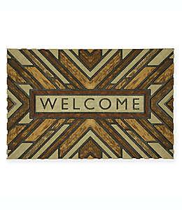 Tapete para entrada de polipropileno Mohawk Home® Wood Slabs Welcome, 58.42 x 88.9 cm color café