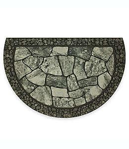 Tapete para entrada de poliéster Mohawk Home® Tuscany de media luna, 58.42 x 88.9 cm color gris/negro