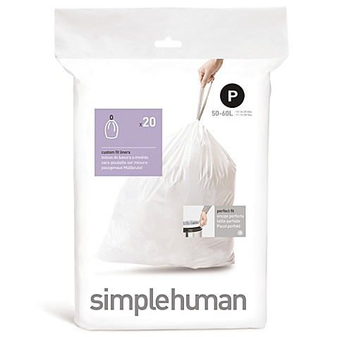 simplehuman code p 20 count 50 60 liter custom fit liners bed bath beyond. Black Bedroom Furniture Sets. Home Design Ideas