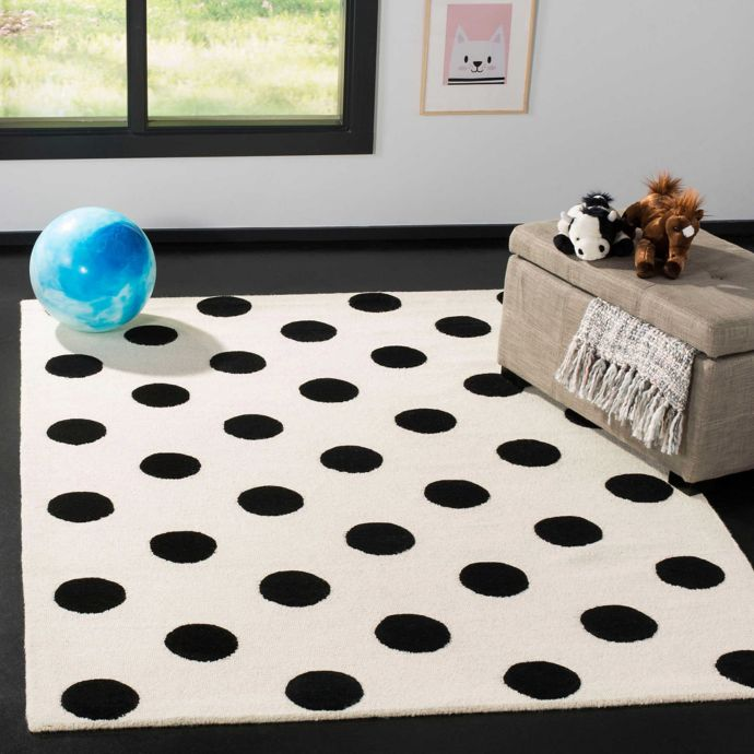 black and white dotted rug