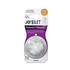 image of Philips Avent  6 Months+ 2-Pack Fast Flow Natural Nipples