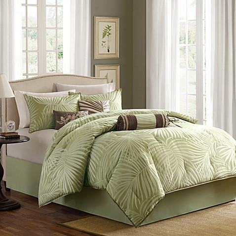 Madison park freeport jacquard sage 7 piece comforter set - Bed bath and beyond palm beach gardens ...