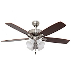 image of 52-Inch Barclay 4-Light Brushed Nickel Ceiling Fan