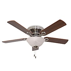 image of 52-Inch Hampshire Bowl Light Low Profile Brushed Nickel Ceiling Fan