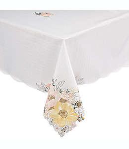 Mantel cuadrado con diseño de flores 152 cm x 264 cm en hueso