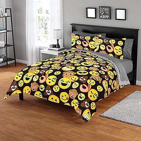 EmojiPals Smiley Face 3 Piece Full/Queen Comforter Set In Black