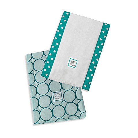 Swaddle Designs® Jewel Tone Mod Circles Baby Burpies® in Turquoise (Set of 2)