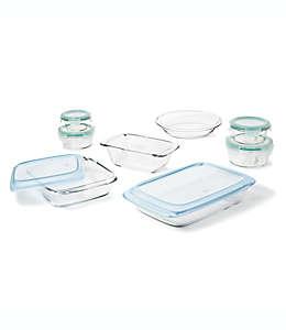 Refractarios de vidrio de borosilicato OXO Good Grips® con tapas color verde, Set de 14
