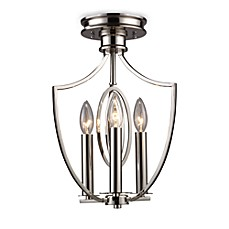 image of ELK Lighting Dione 3-Light Semi-Flush Mounted Ceiling Lamp in Polished Nickel