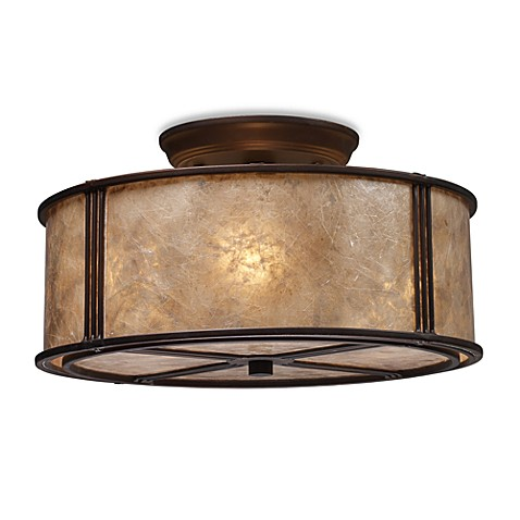 ELK Lighting Barringer 3-Light Semi-Flush Fixture with Tan Mica Shade