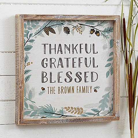 Thankful Fall Floral Personalized Barnwood Sign - Bed Bath & Beyond